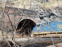 A coal train entering the tunnel at Point of Rocks